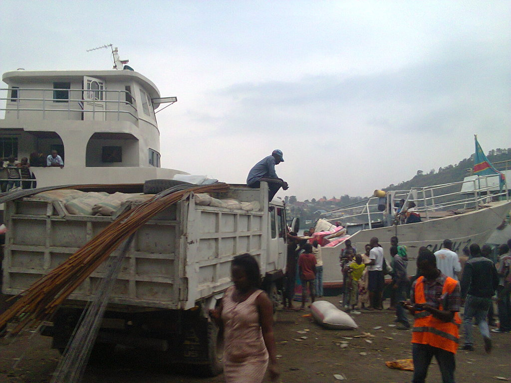 Truck with materials being shipped from Goma