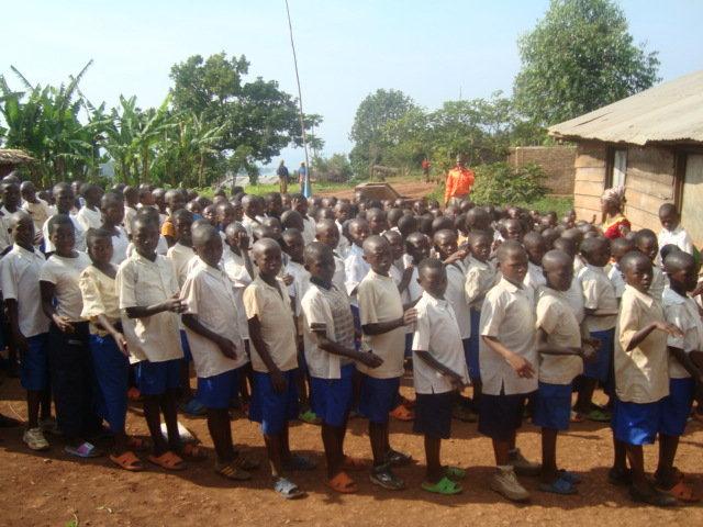 School kids lining up outside school