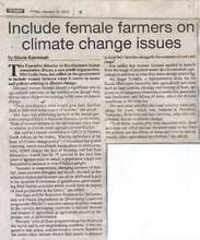 """Include female farmers on climate change issues"" (PDF)"