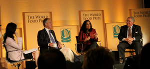 Ritu Sharma with Tony Blair and Howard Buffett