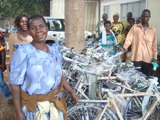 Community workers receiving Bicycles