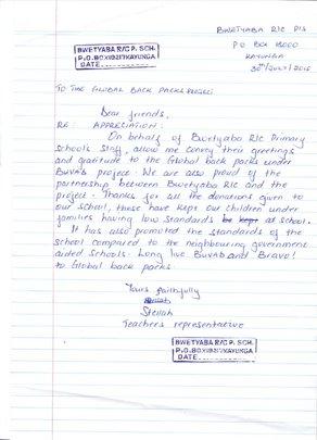 Teacher's Letter to GBP