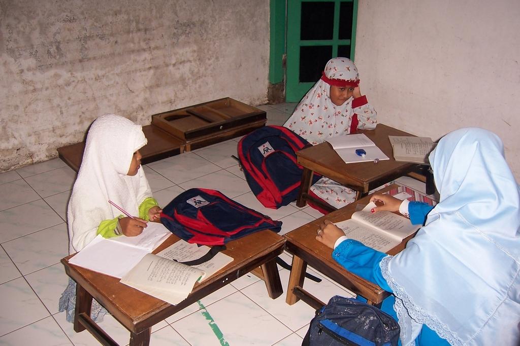 Girls at their desks