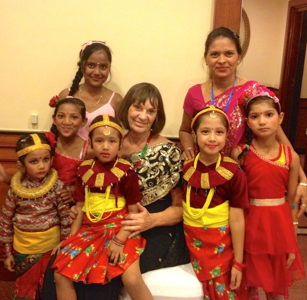 Carol Vernal with Nepali Children