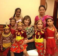 Carol Vernal with Nepali Children