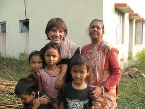 Carol Vernal with Bhawanee family at clinic