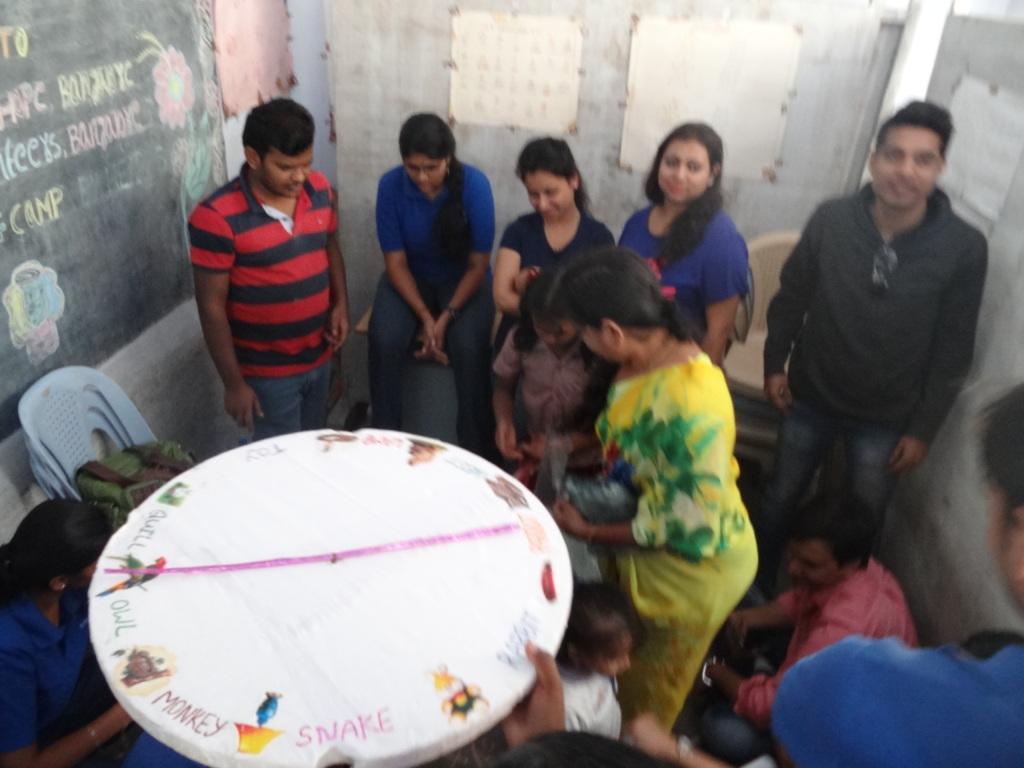 Children with volunteers