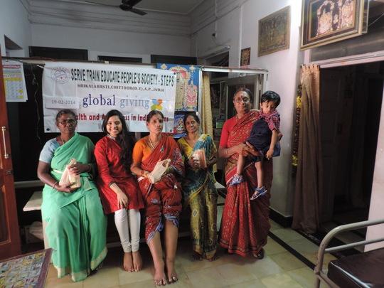 Neeharika Tummala with Filariasis patients