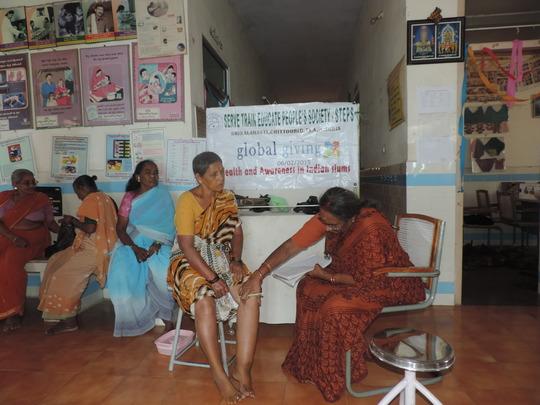 Dr Prameelamma examining  Filariasis patient