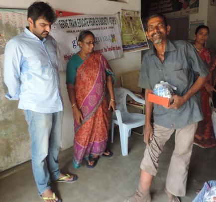 Mr. Veera Reddy with LF patients in field visit