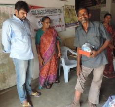 Mr. Veera Reddy with LF patients in field visit
