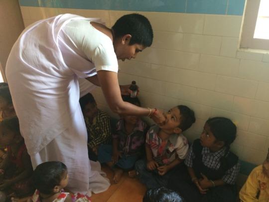Vitamin A program to children