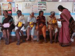 Dr.Prameelamma explaining about drugs to patients