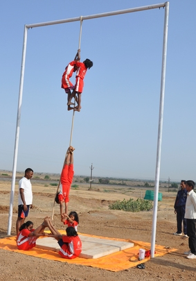 Champs doing Rope-way