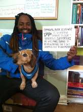 FM member David with Diego, FM dog, in the office