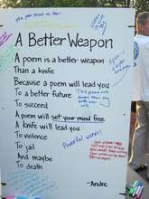 Volunteers decorated this poem with comments