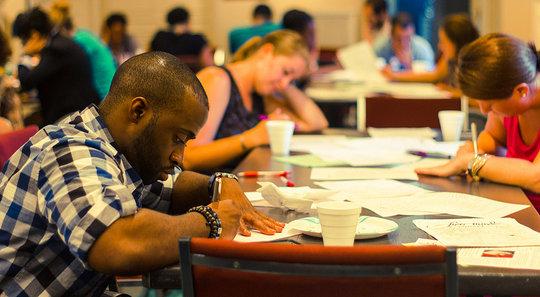 Monthly Write Night volunteers respond to poetry