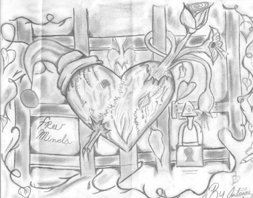 Artwork by Free Minds member Antoine