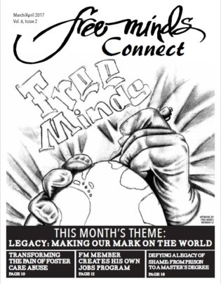 The Free Minds newsletter featuring original art