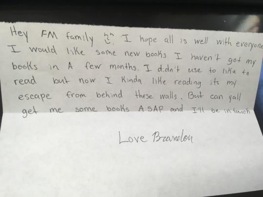 Free Minds member Brandon asks for more books