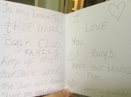 A message from a Free Minds member in prison