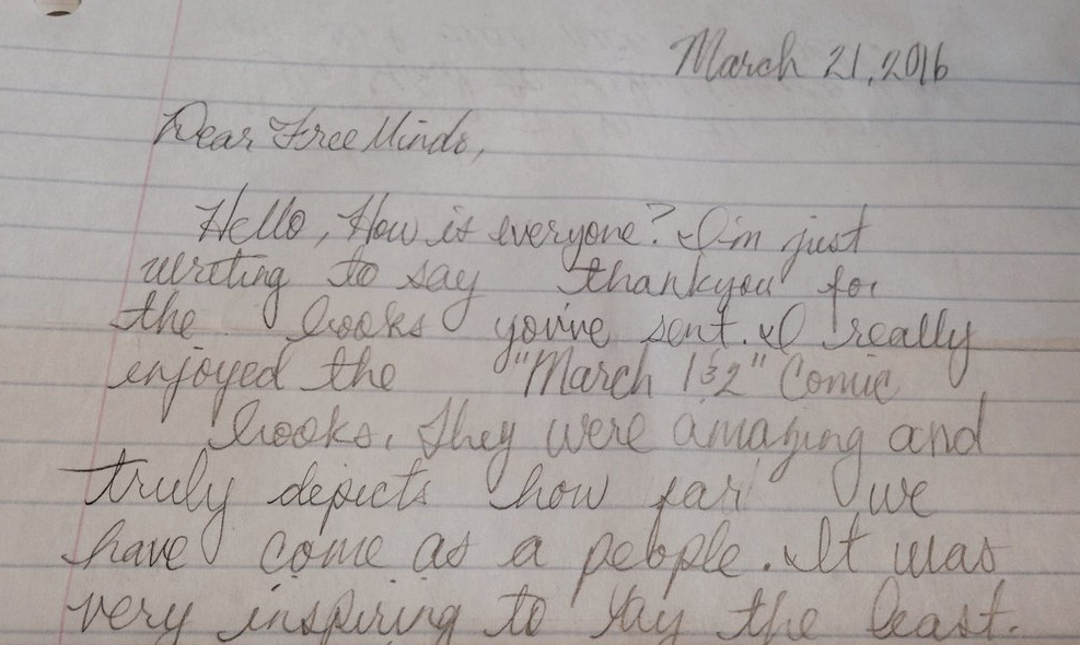 LW writes from federal prison