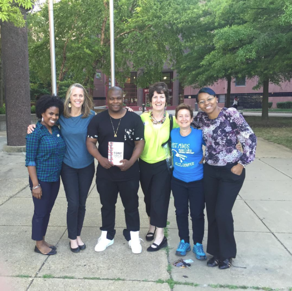 Free Minds staff with author Tony Lewis, Jr.