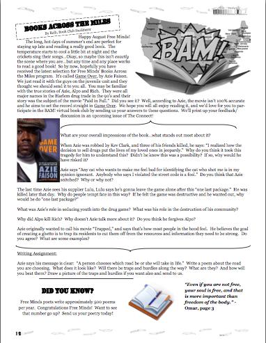 Books Across the Miles (BAM!) in the FM newsletter