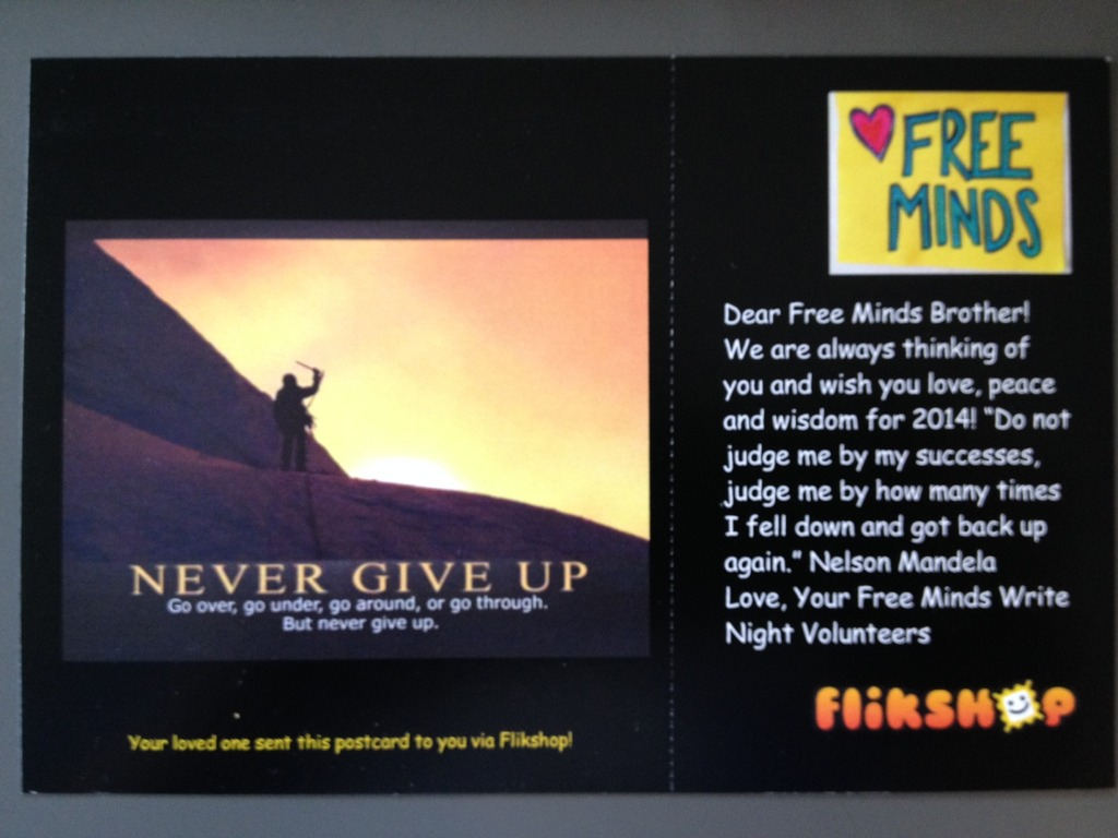 Our first Flikshop postcard to Free Minds members!