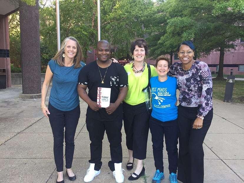 Tony Lewis Jr. and Free Minds staff visit DC Jail