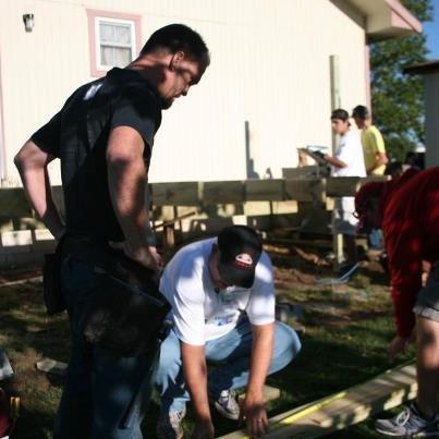 Volunteers build deck & ramp