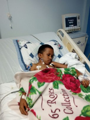 Allan, 10, from Grenada, is recovering well.
