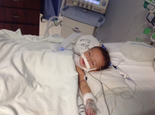 Baby (BB) recovering after surgery