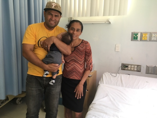 Nelson and his parents arrive for his surgery