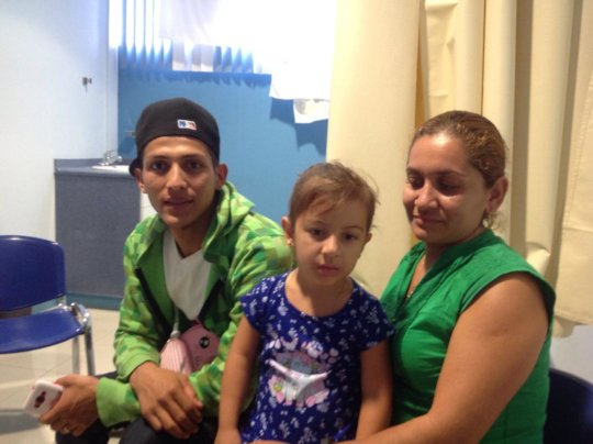 Jany (5) with her parents; home now in Leon