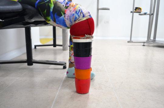 Evis's old prosthetic leg.