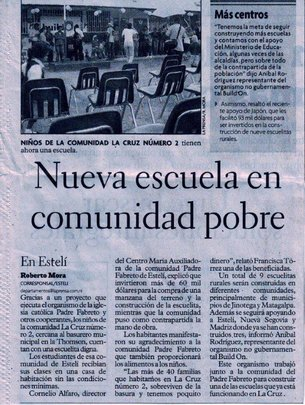 La Prensa Newspaper Announces New School (Espanol)