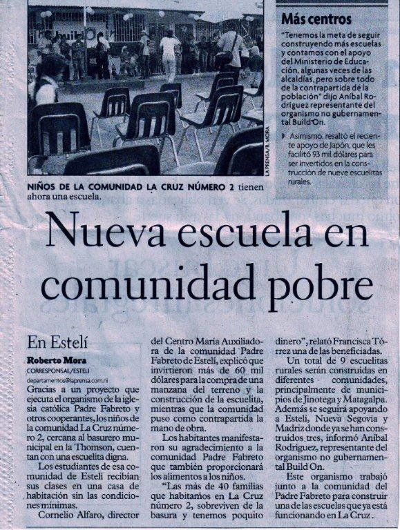La Prensa Newspaper Announces New School (Espanol)