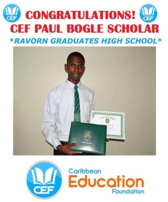 Ravorn's holding his High School Diploma - 2015