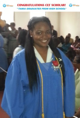 CEF Scholar, Tamia, at high school graduation 2015