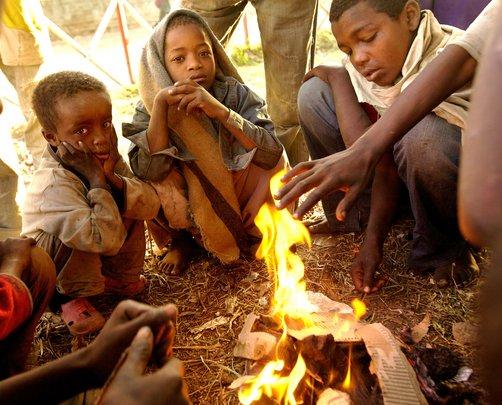 Children by fire