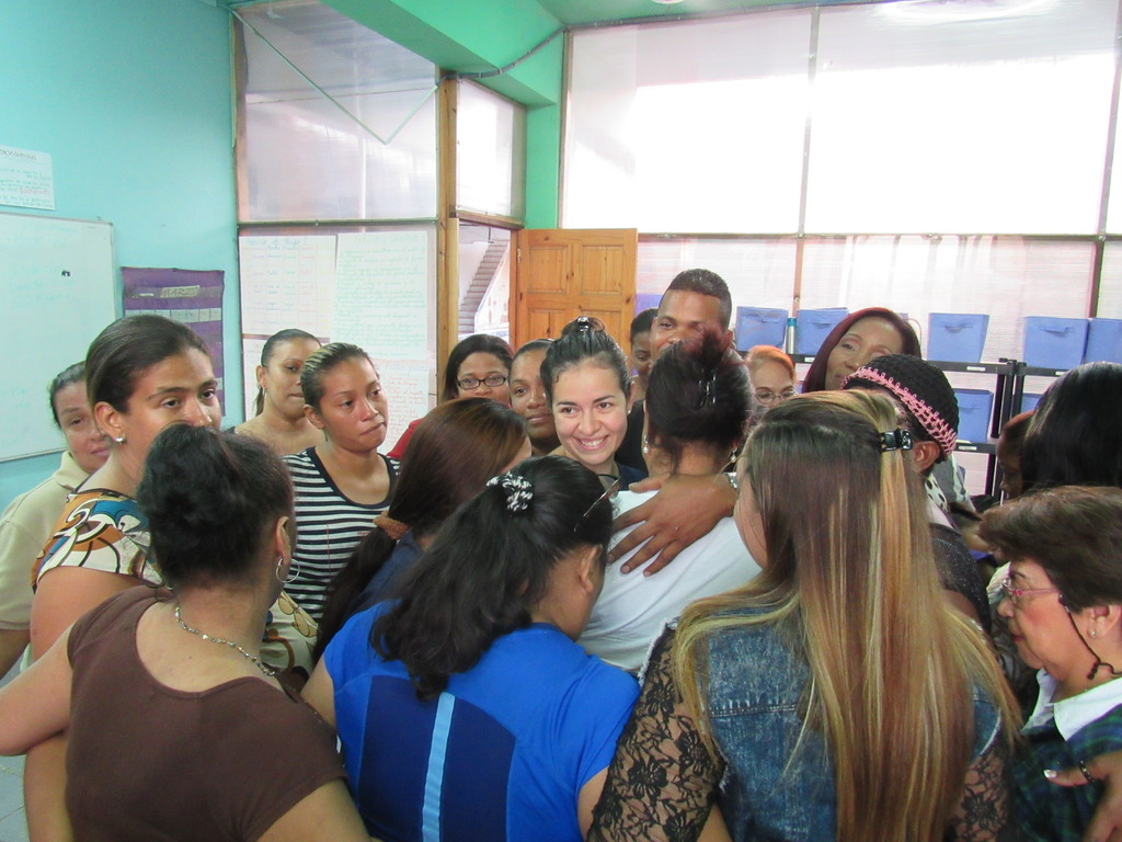 Group Hug with our Enlaces Coordinator
