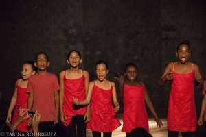 Beginners group in their theatre piece