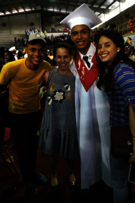 Jose, with his teacher Analida, fellows Joa & Vale