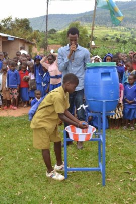 Student - hand washing demonstration