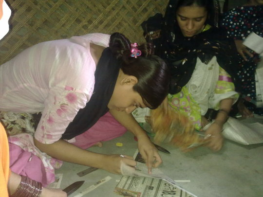 Girls learning skills during part time
