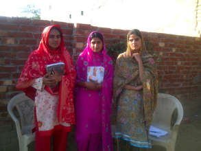 Girls studying for materic examination