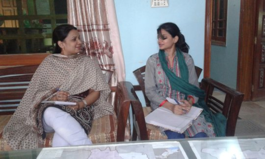 Miss Tahira interviewing Miss. Anita for the job