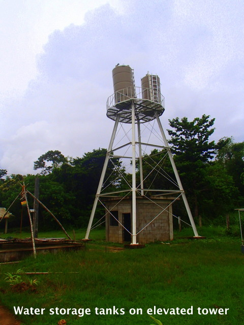 Water storage tanks on elevated tower