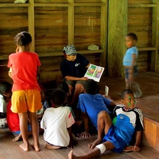 Reading to the children